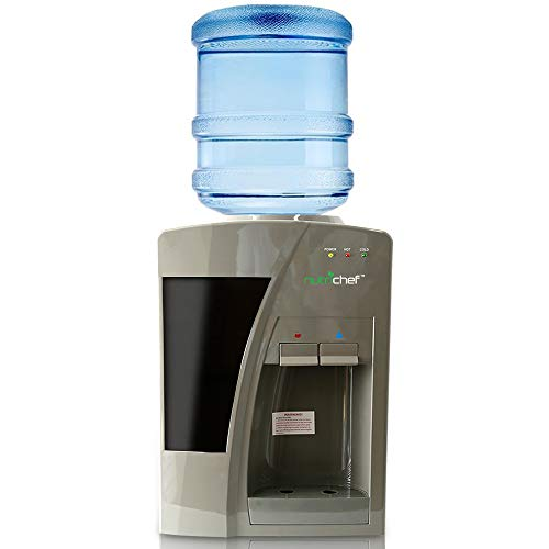 Nutrichef AZPKTWC20SL Upgraded Countertop Cooler Dispenser Hot & Cold Water, Holds 3 or 5 Gallon Bottles