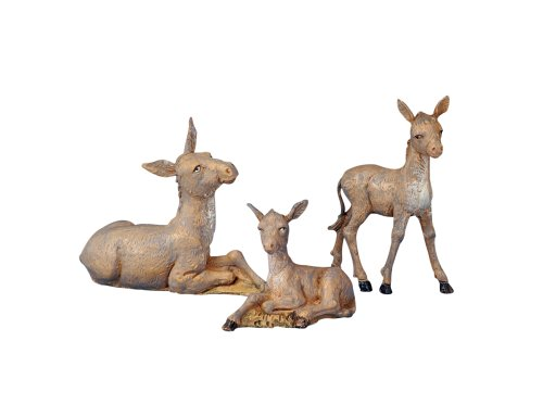 3 Piece Set 5'' Donkey Family Figure Fontanini by Roman by Fontanini