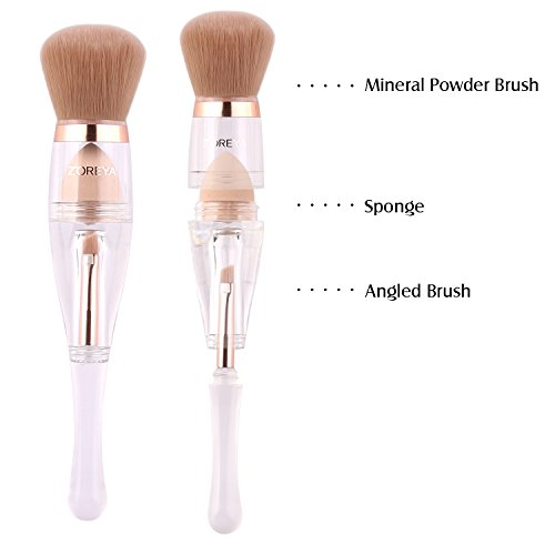 Makeup Brushes Zoreya(TM) 3 in 1 New TRIO Complexion 3x High Efficient Multipurpose Professional Design Makeup Brushes set Kit with Maximum Application, Bronzer Brush, Blender Sponge (Angled Brow Set)