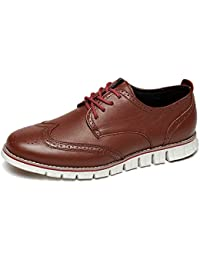 Men s Brogues Oxford Wingtip Genuine Leather Dress Shoes for Business  Casual Lace-up 9b1d94f0c07b