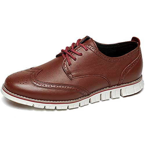 (LAOKS Men's Brogues Oxford Wingtip Genuine Leather Dress Shoes for Business Casual Lace-up Brown (Upgraded 13 D(M) US, Brown))