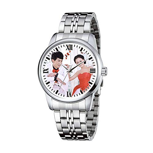 (Personalized Graphic Photo Face Quartz Watch Stainless Steel Wrist Watches for Men Women Custom Any Photo Engrave Text On The Back (Mens-40mm))