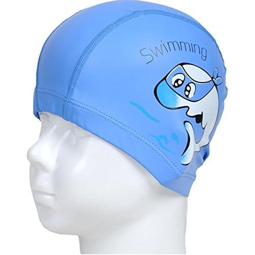 Bleu unisexe imperméable et respirant Cartoon Dolphin Bonnet de bain d'oreille bouchons de protection pour les enfants, enfants