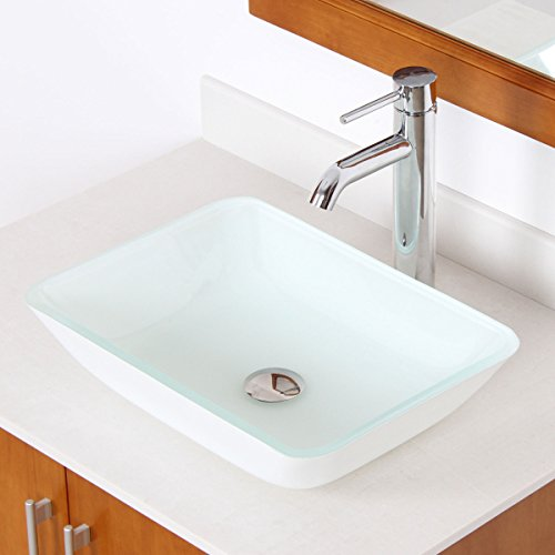 ELITE White Rectangle Tempered White Glass Bathroom Vessel S