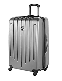 Atlantic Aero Glide Large Checked Luggage - Hardside Expandable Spinner Luggage 28-Inch, Silver