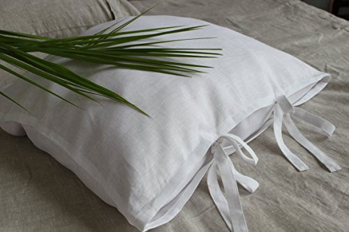 Off-white linen pillow sham cover with two bow ties, Euro size, 26 X 26
