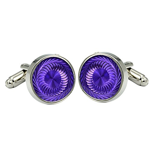 Daptsy Luxury Men's Enamel Cufflinks Purple Round Engraved Shape, French Shirt Daily use Bullet Cufflink ()