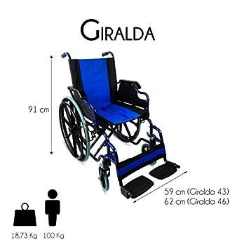 Silla de ruedas para ancianos, Plegable, Rueda grande, Azul, Giralda, Mobiclinic