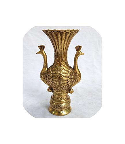 GO-SAMSARA Collection Chinese Old Brass Carved 2 Peacock Vase Antique Art Home Decoration Vases Height 18 cm /7.2 Inch