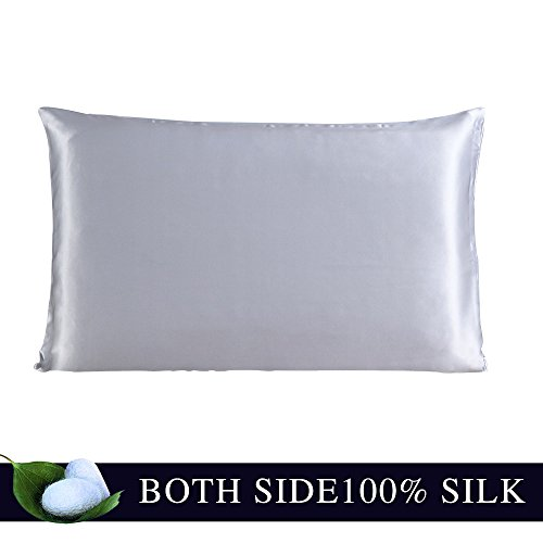 - JULY SHEEP-Standard size Pure Silk Pillowcase,Natural 100% Mulberry Silk,19 momme, 600 thread count for Hair&Facial beauty with Hidden Zipper-Gray Standard(20 x 26 inches)