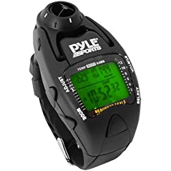 Pyle Sports PSWWM90BK Wind Speed Meter w/ Wind Chill Temp., Altimeter, Barometer, Compass, 10 Laps Chronograph Memory, Yacht Timer (Black Color)
