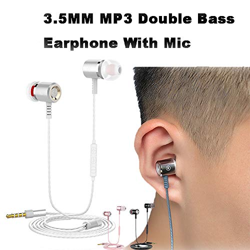 (KUAW Headphones with Microphone Compatible with iPhone Samsung Heavy Deep Bass Stereo Sound Earphones Noise Cancelling Headsets Smart Button Control Earbuds)