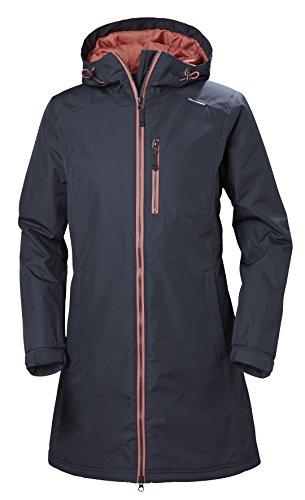 Helly Hansen Women's Long Belfast Insulated Waterproof Windproof Breathable Raincoat Jacket with Hood, 995 Graphite Blue, Medium from Helly Hansen