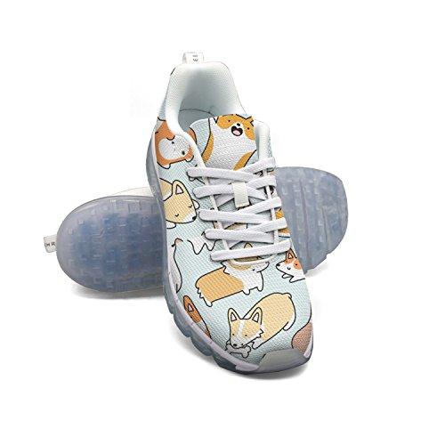 Faaerd Cute Corgi Doodle Mens Mesh Traspirante Scarpe Da Ginnastica A Piedi Cuscino Daria Scarpe Sportive Traspiranti Scarpe Da Corsa Atletiche