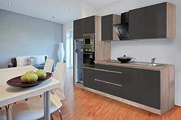 respekta Premium grifflose Küchenzeile Küche 335 cm Eiche ...