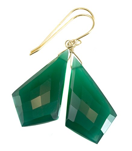 14k Gold Filled Onyx Earrings Green Faceted Pointed Triangular Shape Large Drops Triangle Dangles