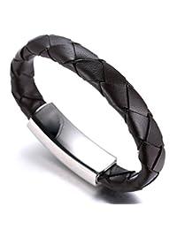 "Halukakah ""TANGO"" Men's Geniune Leather Bracelet Brown Titanium Magnetic Clasp with FREE Giftbox"