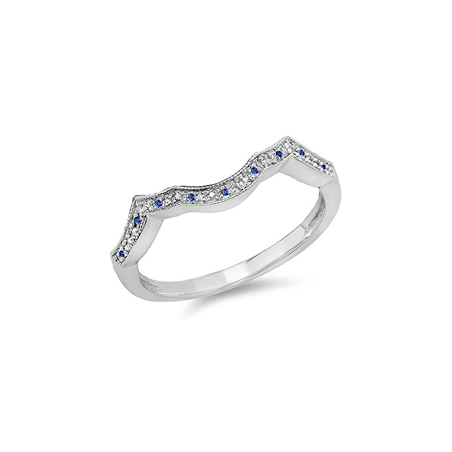 Dazzlingrock Collection Sterling Silver Round Real Blue Sapphire & White Diamond Ladies Wedding Stackable Anniversary Guard Ring