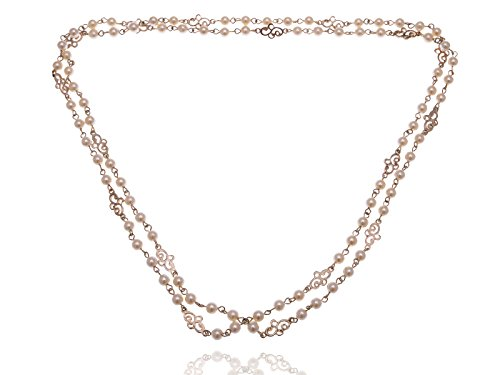 Alilang Vintage Inspired Style Golden Toned Chain with Interlocking Faux Pearls and Swirl Charms