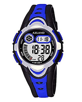 AZLAND 7 Colors Flashing, 3 Multiple Alarms Reminder Sports Kids Wristwatch Waterproof Boys Girls Digital Watches Camo by AZLAND
