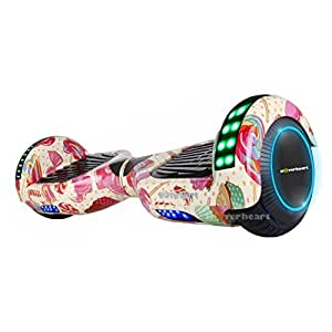 """Hoverboard Two-Wheel Self Balancing Electric Scooter 6.5"""" UL 2272 Certified, Print Coating with Bluetooth Speaker and LED Light (Candy Land)"""