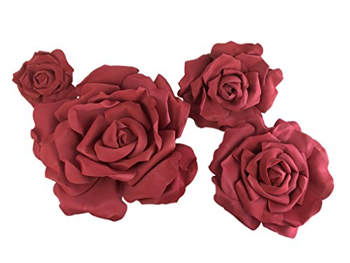 Set of 4 Classic Elegant Giant Foam Flowers(Floating). Real Touch 3D Artificial Roses. Wedding Backdrop, Photo-Booth, Backdrop, Nursery, Wall, Archway, Home Decoration Centerpiece (Wine Red) ()