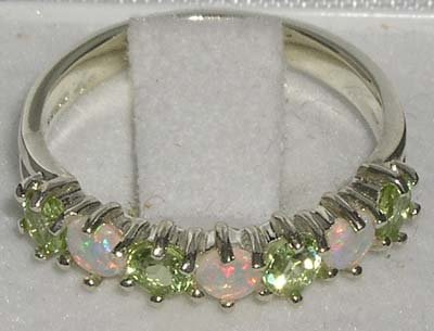 925 Sterling Silver Natural Opal & Peridot Womans Eternity Ring - Size 5 by LetsBuySilver (Image #4)