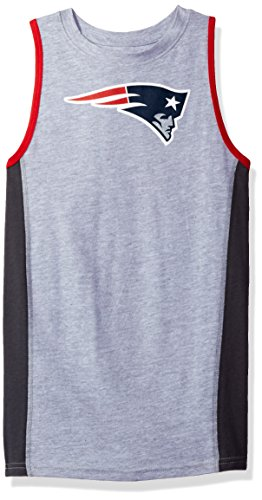 New England Patriots Tank (NFL New England Patriots Youth 8-20 Fan Gear Tank Top, Large (14-16), Heather Grey)
