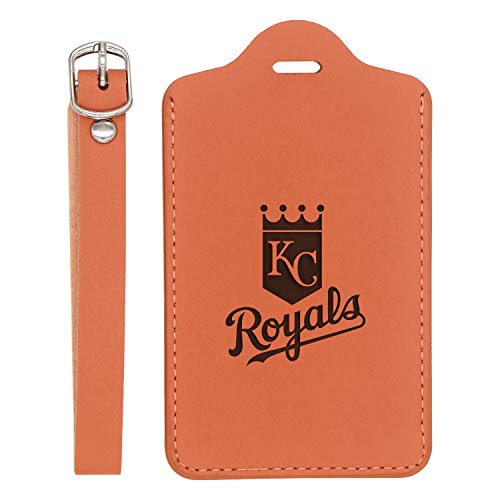 (KANSAS CITY ROYALS ENGRAVED SYNTHETIC PU LEATHER LUGGAGE TAG (LONDON TAN - SET OF 2) - UNITED STATES STANDARD - HANDCRAFTED BY MASTERCRAFTSMEN - FOR ANY TYPE OF LUGGAGE)
