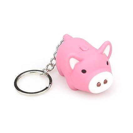 Amazon.com  Yeefant Mini Cute Cartoon Pink Pig Keychain with Led ... 9f8841cfb222