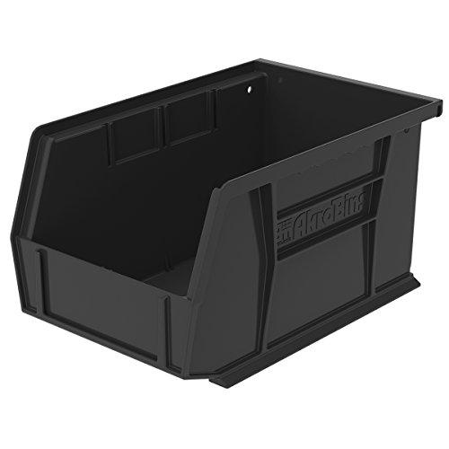Akro-Mils 30237BLACK Plastic Storage Stacking Hanging Akro Bin, 9-1/4-Inch by 6-Inch by 5-Inch, Black, Case of 12