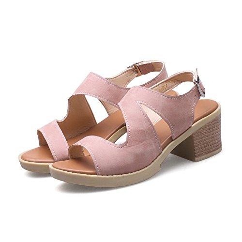 Pink Mujeres Tacón del pie Abierto Cómodo Alto LJO de Informal Dedo Sandalias Moda Ronda de 4wHF6d