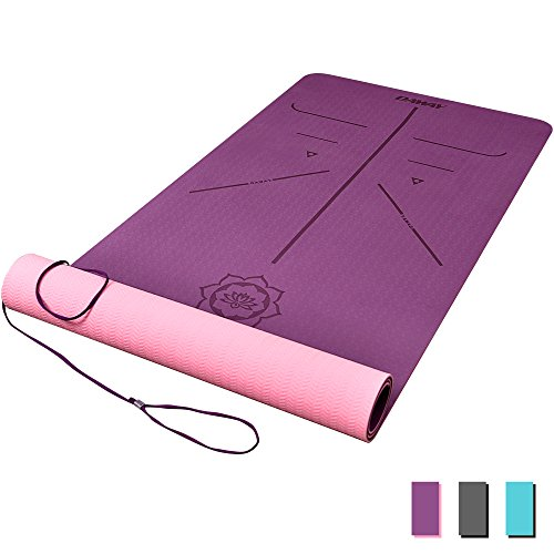 DAWAY Eco Friendly TPE Yoga Mat Y8 Wide Thick Workout Exercise Mat, Non Slip Grip Pilates Mats, Body Alignment System,Tear Resistant, with Carrying Strap, 72