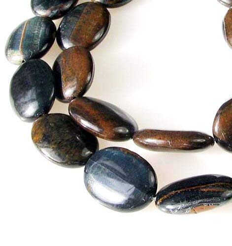 (2 Beads of Hawkeye Natural Blue Tigereye 25mm Oval Beads for Jewelry Making 9570)