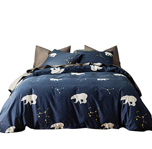 SUSYBAO 3 Pieces Duvet Cover Set 100% Natural Cotton Queen Size Navy and White Polar Bear Constellation Bedding with Zipper Ties 1 Duvet Cover 2 Pillowcases Luxury Quality Soft Durable Comfortable ()