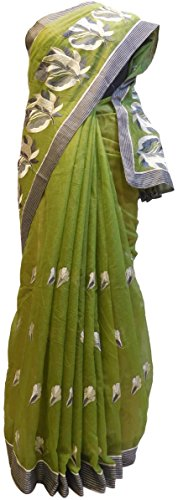 gner Supernet (Cotton) Hand Embroidery Saree Sari Free Size Mehendi Green (Hand Embroidery Sarees)