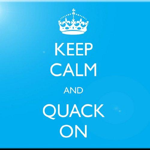 Rikki Knight 8 x 8 Keep Calm and Quack On Sky Blue Color Design Ceramic Art Tile