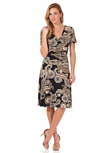 Rekucci Women's Slimming Short Sleeve Fit-N-Flare Crossover Tummy Control Dress (10,Navy/Sand Paisley)