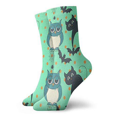 Mens Womens Crew Socks Halloween Owls and Cats Athletic Socks Designer Anti Bacterial Odor Cushion Short Boot Stocking