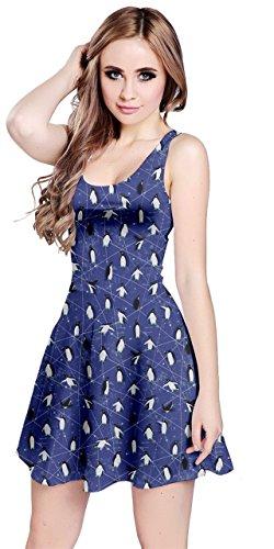 CowCow Womens Royal Blue Little Cute Penguins Sleeveless Dress, Royal Blue - 4XL
