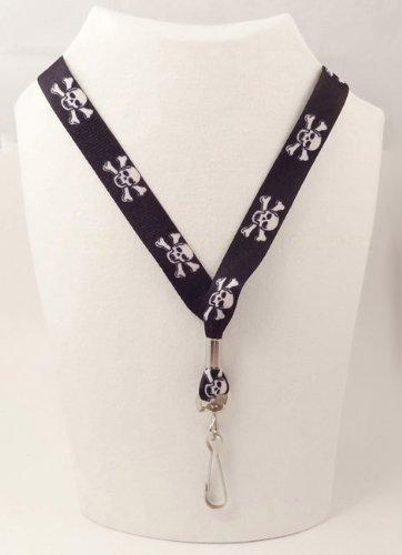 Skull and Crossbones - Soft Neck Lanyard for Holds Keys or Badge ID - Black