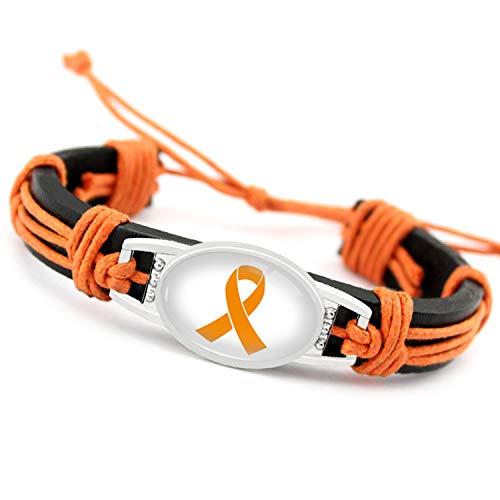 Hope Fighter Warrior Ribbon Breast Awareness Cancer Cure Adjustable Leather Bracelets Bangles for Women Men Jewelry
