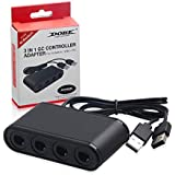 Gamecube Controller Adapter,Gamecube NGC Controller Adapter for Wii U,Switch and PC USB.Easy to Plug and No Driver Need.4 Port Gamecube Adapter Black(Updated Version)