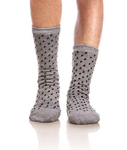 Eocom Men's Winter Warm Fuzzy Non Slip Slipper Socks Christmas Valentine's Day Gift Idea(Light grey)