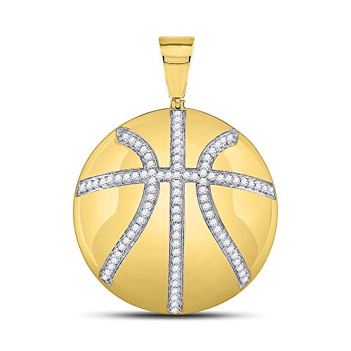 Dazzlingrock Collection 10kt Yellow Gold Mens Round Diamond Basketball Sports Charm Pendant 7/8 Cttw ()