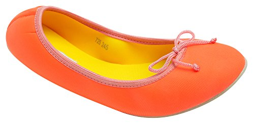 Neoprene Comfort Orange Portable Sweet Neon w Bag Womens Ballet Holic Flat ZtvvREwq