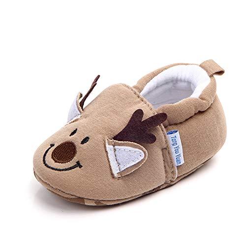 Save Beautiful Cute Cartoon Infant Unisex Baby Warm Cotton Anti-Slip Soft Sole First Walkers Shoes (12-18 Months, Khaki Deer) ()