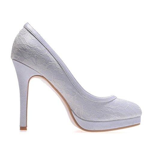 L@YC E6915-08 Women's Silk Wedding High Heels/# Outdoor/Clothing/Leisure Blue ktPcj