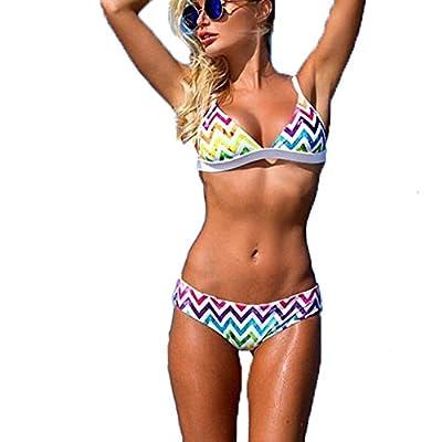 Sexy Bikinis For Women - Rainbow Print Triangle Top Bikini Swimsuits - Two Piece Push Up Strappy Bathing Suit