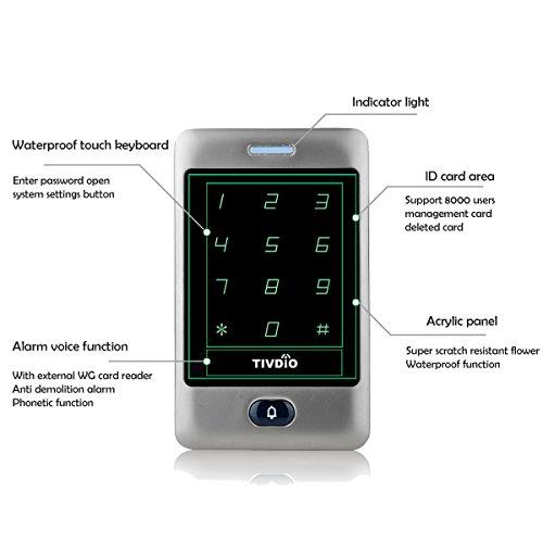 TIVDIO T-AC800 Access Control System Door Keypad Locks Touch